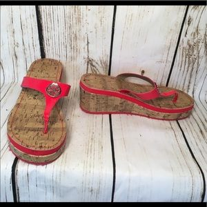 NY&Co. Like New Red Wedge Flip Flop